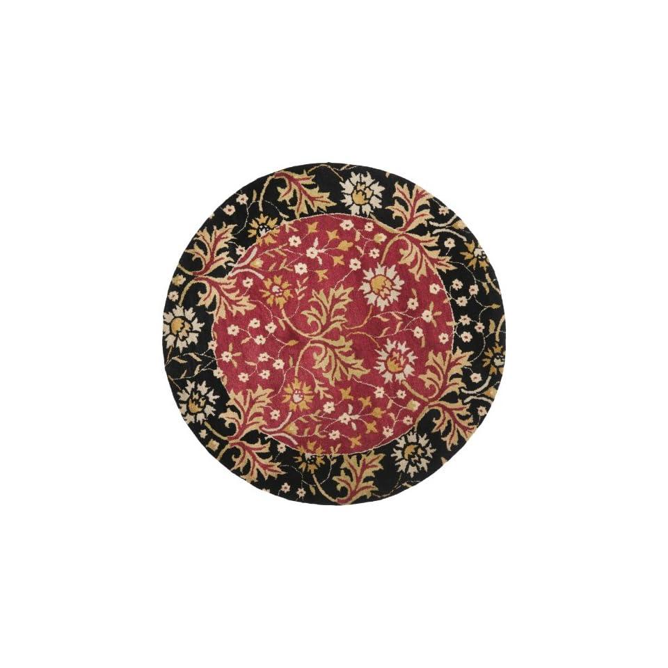 Safavieh Jardin Collection JAR725A Handmade Red and Black Premium Wool Round Area Rug (6 Diameter)