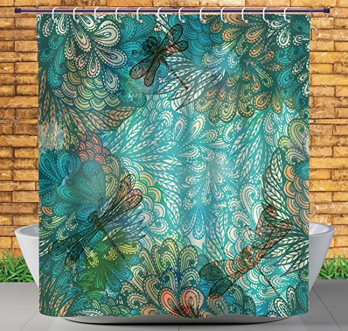 iPrint Stylish Shower Curtain by, Dragonfly,Fantasy Flowers Mixed in Various Tones Shabby Chic Feminine Beauty Print,Turquoise Amber,Polyester Fabric Kids Bathroom Curtain (Amber Curtain)