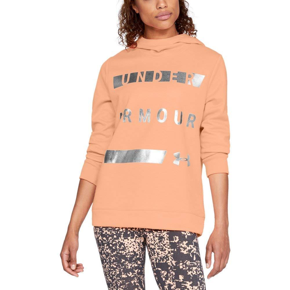 Under Armour Women's Synthetic Word Mark Fleece Pullover, Peach Horizon (906)/Tonal, X-Small