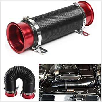 3/'/' Flexible Cold Air Intake Pipe Inlet Hose Tube Duct Inlet Red Retractable