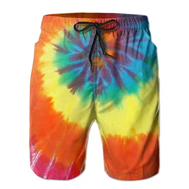 9c6c7bd30c HF8MX Rainbow Tie Dye Men's Summer Casual Shorts Household Pants with  Pockets Quick Dry Swim Trunks