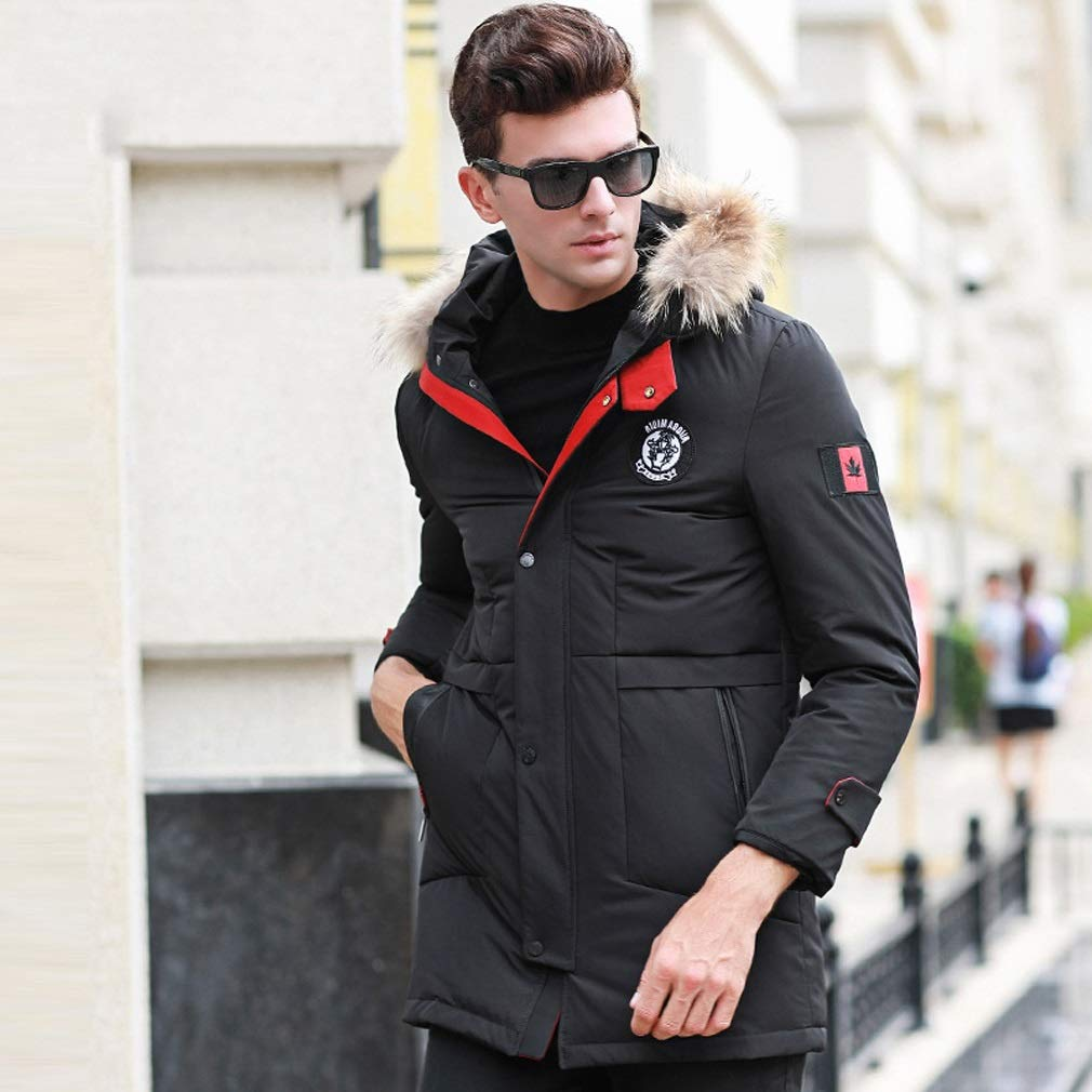Amazon.com : Rayem New Down Jacket, Mens Fashion Long Hooded Jacket with Fur Collar, Winter Outdoor Cold Warm Clothing, Suitable for Cold Weather : Sports ...