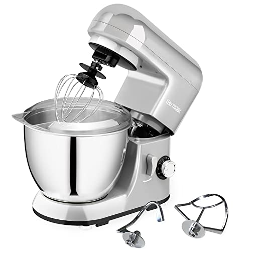 CHEFTRONIC Stand Mixer SM-985, 550W 6 Speeds Tilt-head Compact Kitchen Electric Mixer 4.2 Quart Stainless Steel Bowl with Pouring Shield for Mother's Day, Xmas, Wedding, Thanksgiving, Birthday Gift