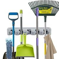 Modohe Mop Broom Holder Broom Organizer Key Rack Towel Hooks 5 Non-slip with 6 Hooks Wall Closet Mounted Organizer Brooms Mops Rakes Garage Storage Organization Systems