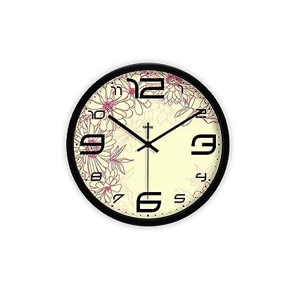 LQQGXL Creative pattern stylish wall clock high definition glass mirror round clock mute quiet bedroom creative
