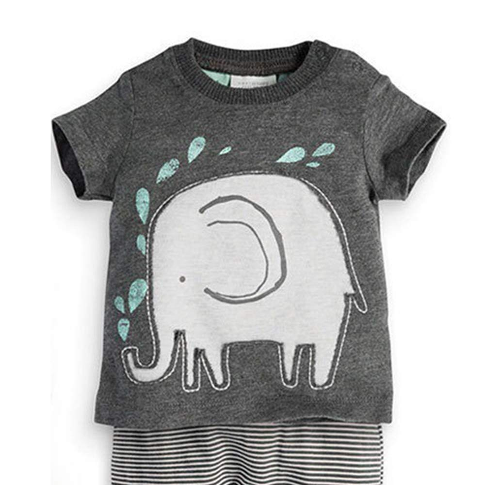 SunnyClover Baby Clothes Set Elephant Print Short Sleeve Pants Baby Girl Boy Clothes Set Fashion Animal Print Tops Pants