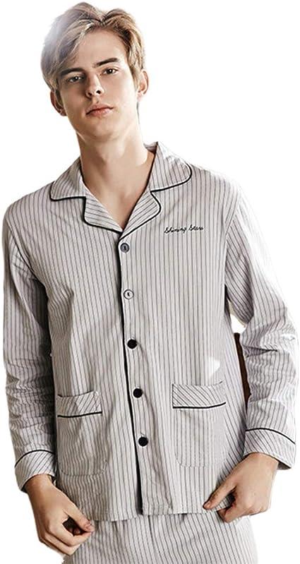 WX-ICZY Hombre en Pijamas de algodón, de Gran tamaño Solapa ...