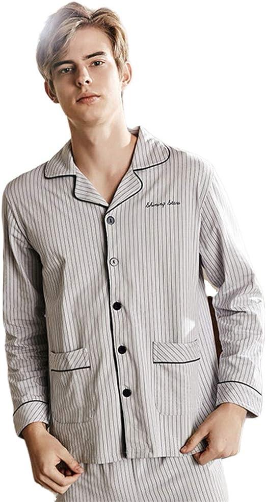 WX-ICZY Hombre en Pijamas de algodón, de Gran tamaño Solapa de ...