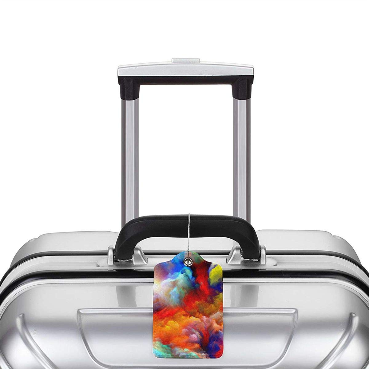 Colorful Watercolor Cloud 2.7 x 4.6 Blank Tag Key Tags for Cruise Ships Honeymoon Gift Leather Luggage Tags Full Privacy Cover and Stainless Steel Loop 1 2 4 Pcs Set