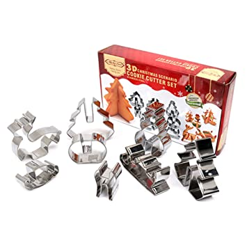 KBstore Navidad Cortador de Galletas Moldes para Galletas de Acero Inoxidable - Molde para Cortar Galletas para Pastel Decorar/Moldeado de Azúcar/Artesanía ...