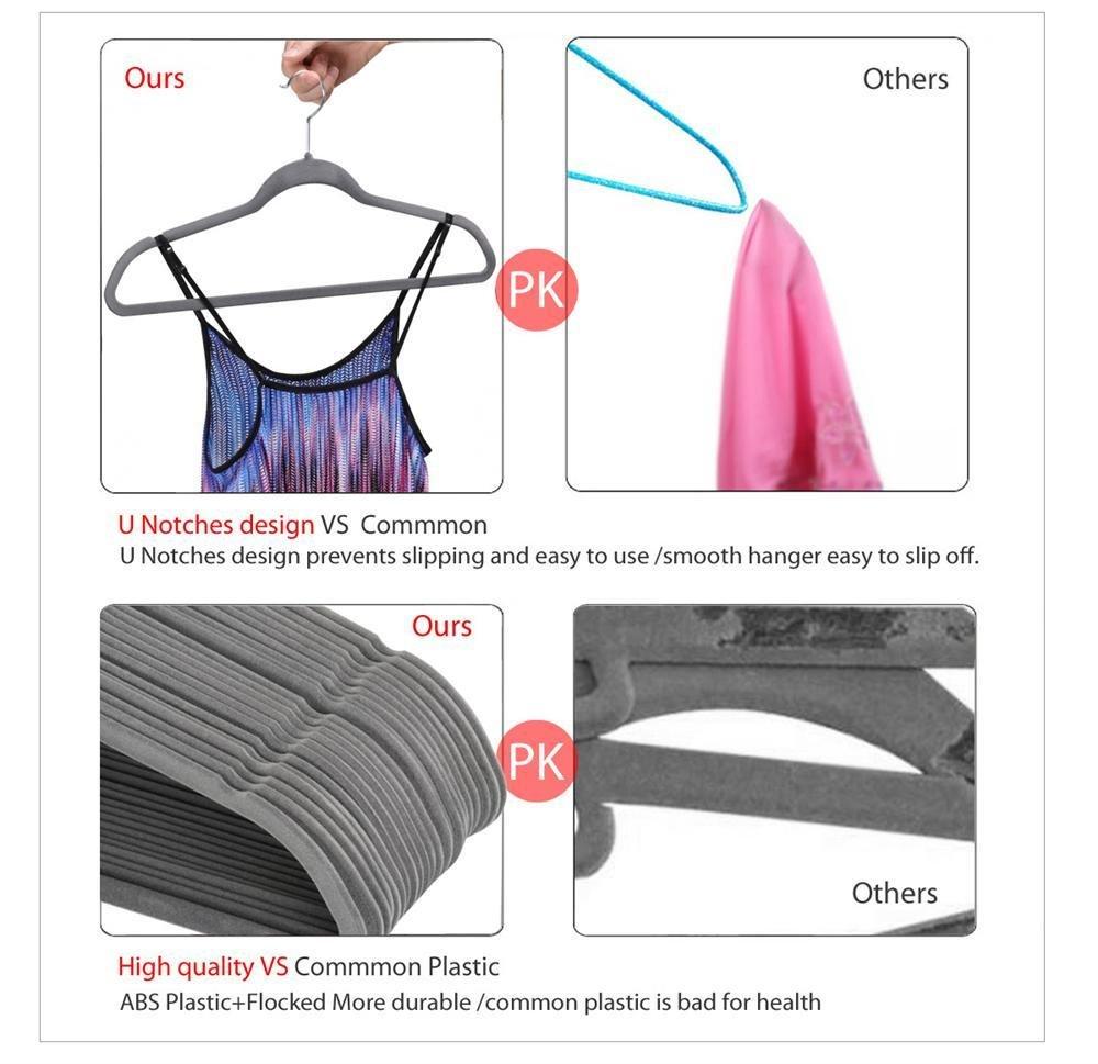 45cm length Yaheetech 100x Thin Space Saving Non-Slip Coat Hangers,Grey