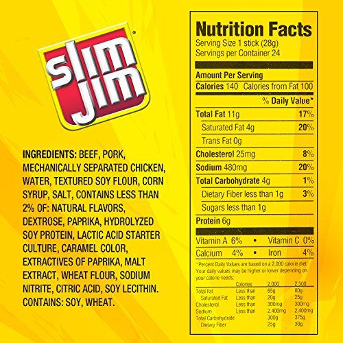 Slim Jim Giant Smoked Meat Stick, Mild Flavor, .97 Oz. (24 Count)