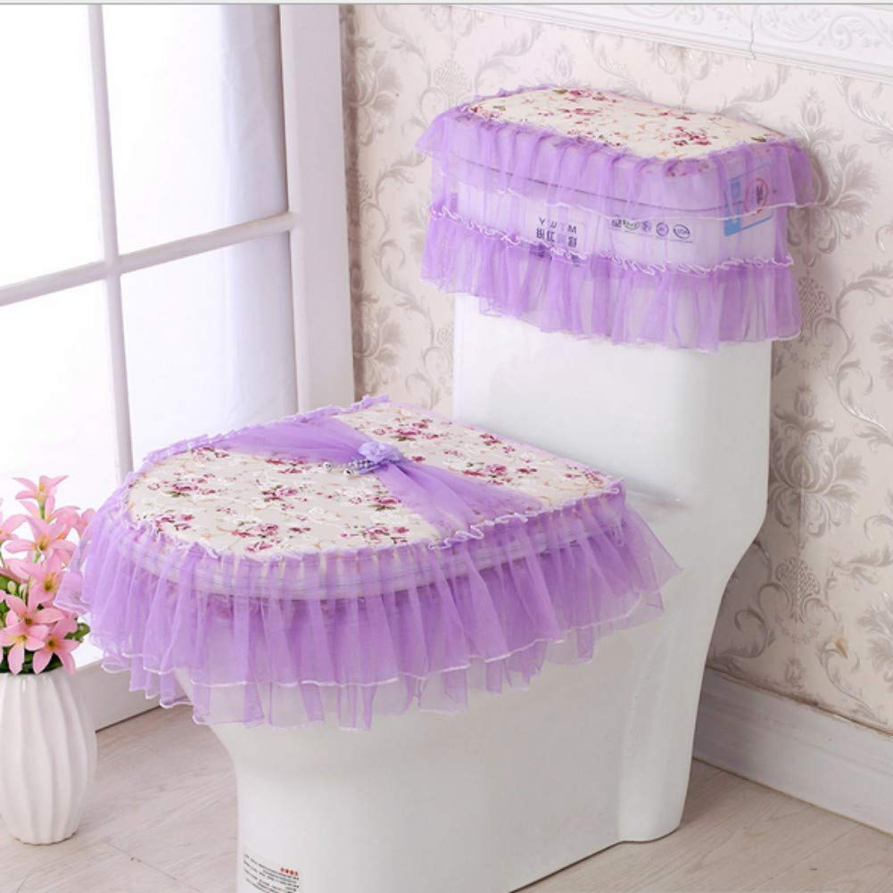 KRWHTS Toilet Seat Cover Set, Flannel Cashmere Lace Printed Home Decoration, 3Pcs-Water Tank Cover+Toilet Cover Seat+Toilet Seat (1)