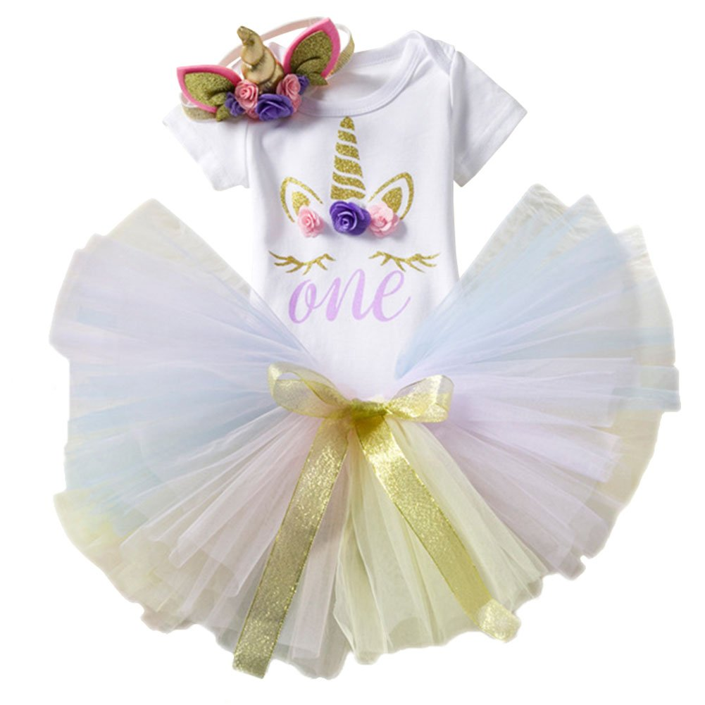 Girl Newborn Baby Unicorn 1st Birthday Cake Smash 3PCS Outfits Romper Tutu Skirt Princess Dress Headband Set White Flower One
