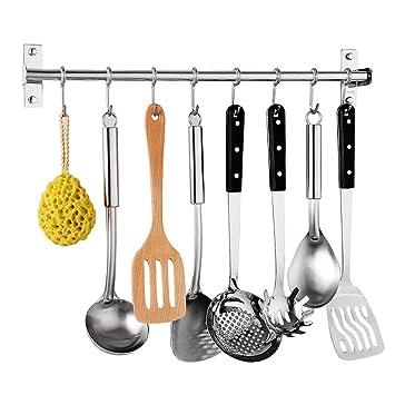 Percha de cocina, acero inoxidable, multiusos, organizador de utensilios de cocina, soporte de pared para sartenes, utensilios colgantes con 6 ganchos ...