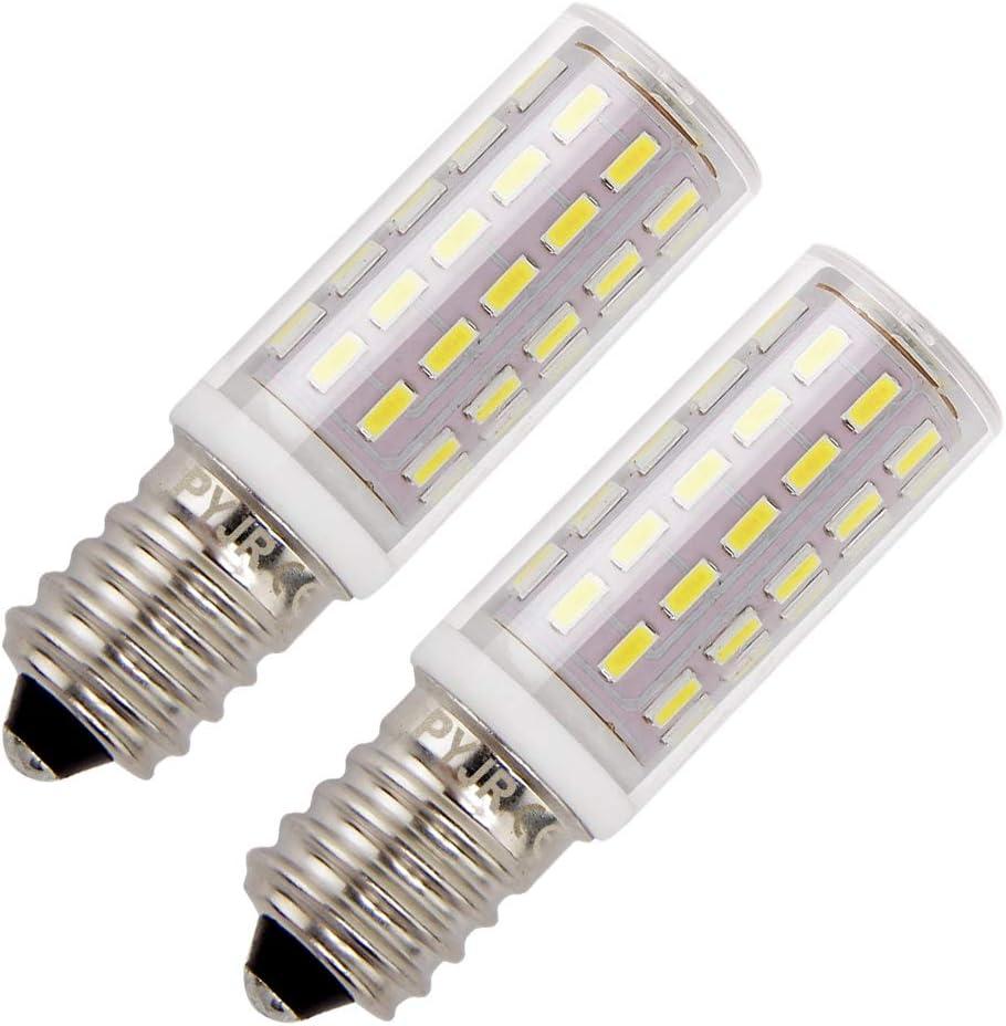 Bombillas campana extractora, PYJR E14 LED 5W equivalente incandescente de 50W, Blanco Frío 6000K 100-240V, pequeña y potente, 2 unidades