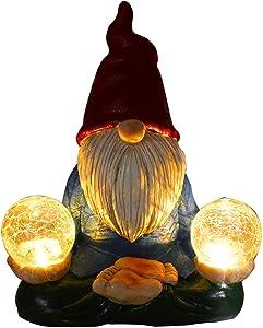Solar Gnomes Statue Garden Decorations Glowing Light Naughty Zen Sculpture Outdoor Yard Lawn Decor Resin