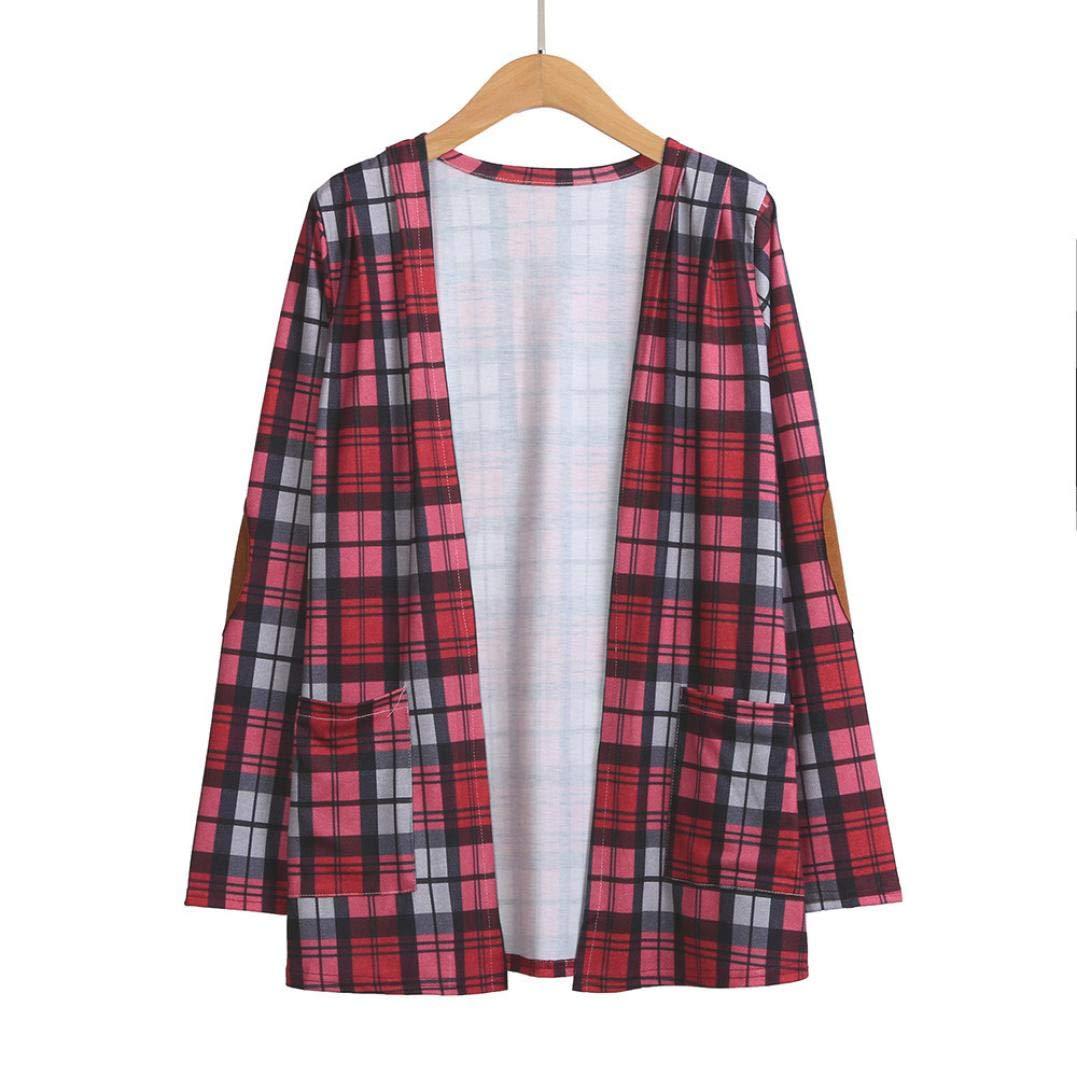 Spbamboo Womens Cardigan Lady Plaid Print Jacket Casual Long Sleeve Coat Outwear by Spbamboo (Image #3)