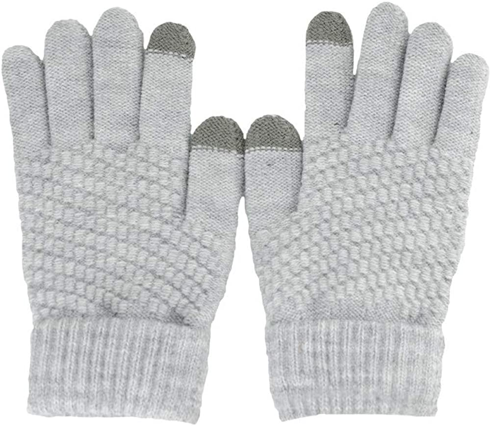 BUYITNOW Unisex Winter Touch Screen Knitted Gloves Thick Warm Wool Windproof Mittens