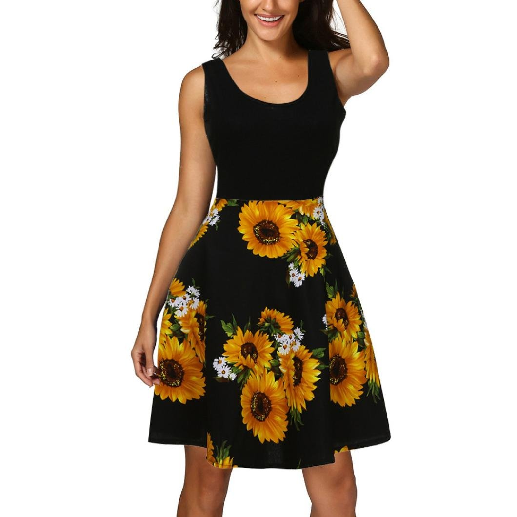 GBSELL Women's Summer Sunflower Vintage Scoop Neck Sleeveless Cocktail Party Tank Dress (Black, M)