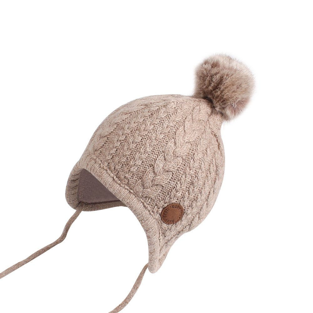 Cutegogo Crochet Baby Beanie Earflaps Little Girl Boy Knit Infant Hats Winter Warm Cap Lined Polyester