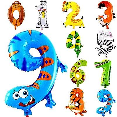 Crazy-M 10pcs 16 Pulgadas Número Foil Balloon Balloons Pequeño Animal Balloon Kit para niños Fiesta de cumpleaños Decoración Animal Balloon, Party Animal Globo inflado para niños Birthday: Hogar