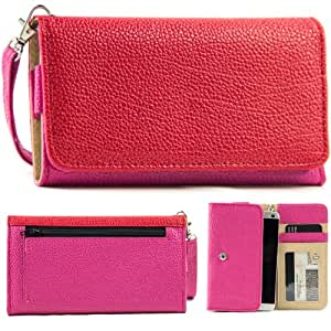 EXXIST® Classic Metro Series. Patent Leather Wallet / Clutch for Alcatel One Touch Idol OT-6030 (Color: Red / Magenta) -ESMLMTMR