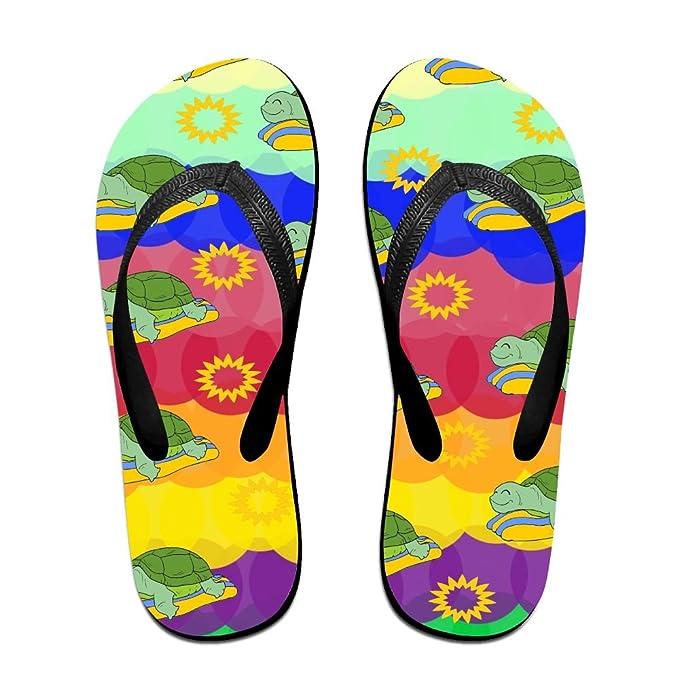 Unisex Non-slip Flip Flops Turtle Enjoying Cool Beach Slippers Sandal