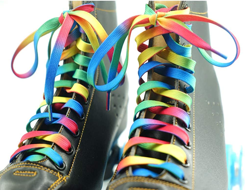 DECKER Flat Wide Rainbow Shoelaces 2 Pairs Lace for Roller Skates Hockey Skates Boots and Regular Shoes