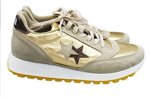 2 Star - Zapatillas de Piel para Mujer Dorado Taupe/Oro Dorado Size: IT Donna 40 EU: Amazon.es: Zapatos y complementos