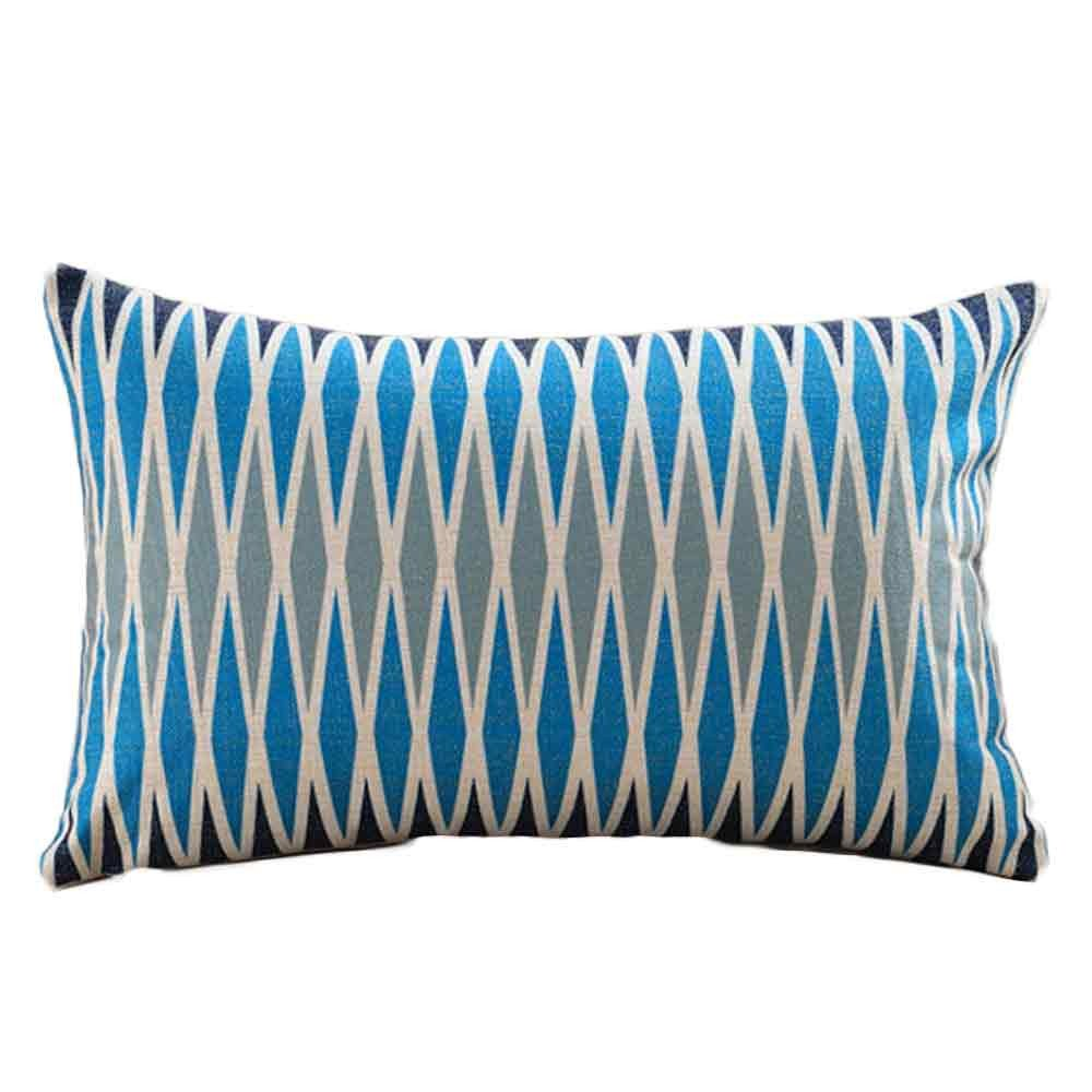 Weiliru Bedding Cotton Striped Pillowcases,Standard Pillow Covers with Envelope Closure End, Blue