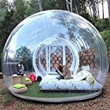 HHAiNi Outdoor Transparent Single Tunnel Inflatable Bubble Tent Family Camping Backyard with Blower (Ball Diameter 8M)