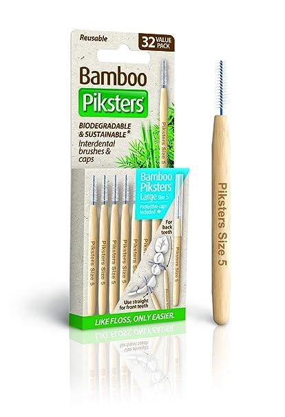PikstersBamboo Piksters - Pinceles interdentales (mango recto, 32 ...