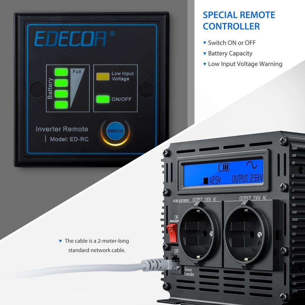 Inversor 12v 220v ONDA PURA inversor 1000w convertidor de voltaje 12v 220v onda pura LCD con MANDO A DISTANCIA