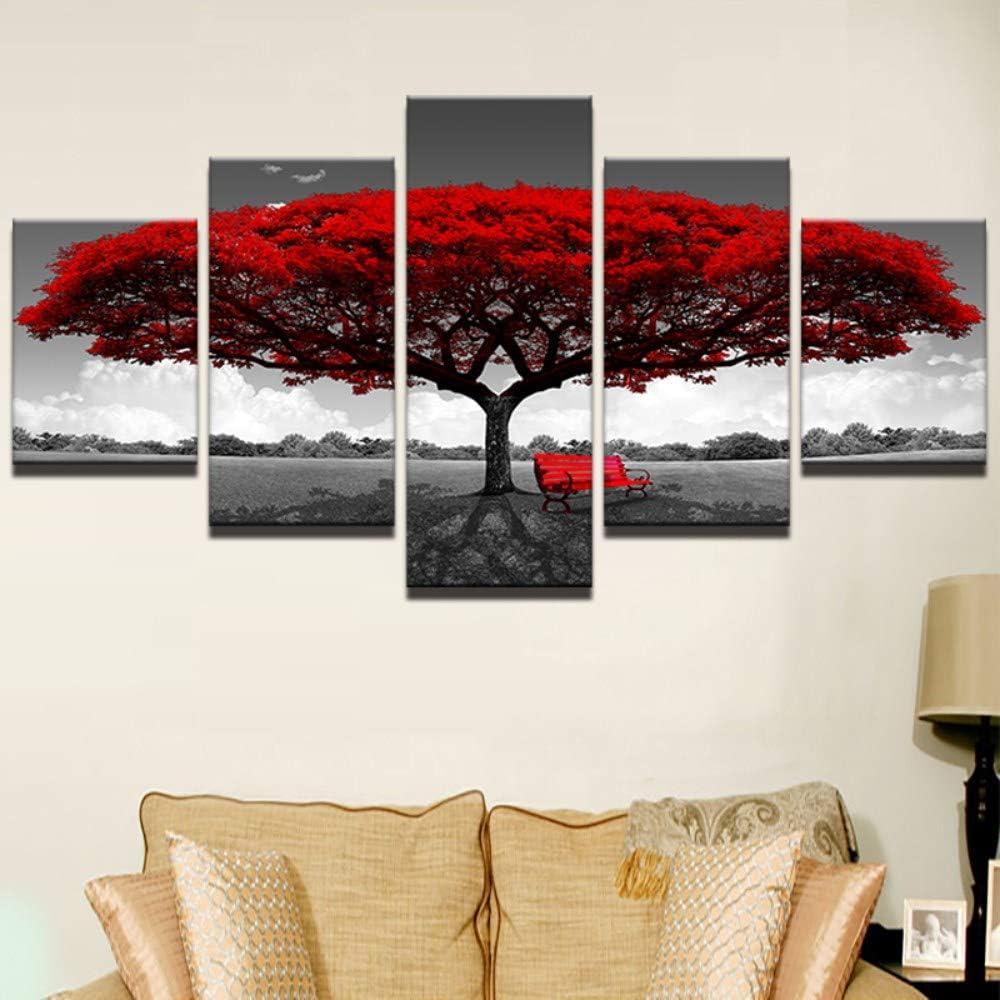 JHDGG Cuadro en Lienzo Arbol Rojo 200/×100 cm 5 Partes Arte Formato Grande Impresion en Calidad Fotografica Cuadro en Lienzo Tejido-No Tejido(Sin Marco)