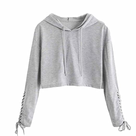 a6f04940733980 Women s Teen Girls Hoodie WuyiMC Hoodie Sweatshirt Jumper Sweater Crop Top  Coat Sports Pullover Tops Clearance