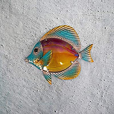 Liffy Metal Fish Wall Decor Bathroom Glass Art Orange Hanging Garden Decorations for Patio, Pool or Porch: Everything Else