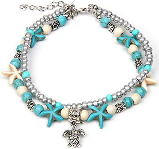 CrazyPiercing Boho Anklet Bracelet Blue Starfish Ankle Multilayer Beach Foot Chain with Turtle Charm Anklet for Women and Girls