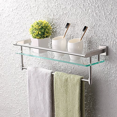 Bathroom Glass Shelf Finish (KES A2225-2 SUS304 Stainless Steel Bathroom Glass Shelf Wall Mount with Towel Bar and Rail, Brushed Finish)