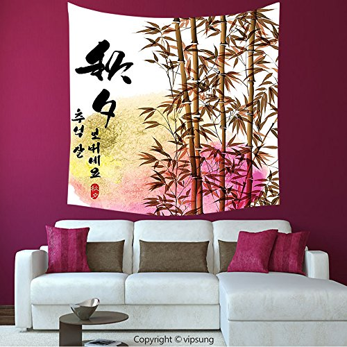 House Decor Square Tapestry-Bamboo House Decor Collection Bamboo Painting With Japanese Words In Mid Autumn Festival Giving Day Harvest Artsy Work _Wall Hanging For Bedroom Living Room (Halloween Harvest Festival United States)