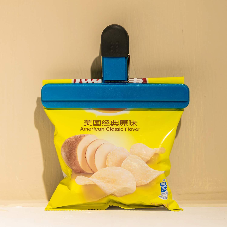 12, Gr/ö/ße 2 Gro/ße Chip Tasche Clips Essen Clips Kunststoff Heavy Duty Luftdichter Dichtungsgriff Verschiedene Farben f/ür Kaffee Kartoffel und Essen Taschen