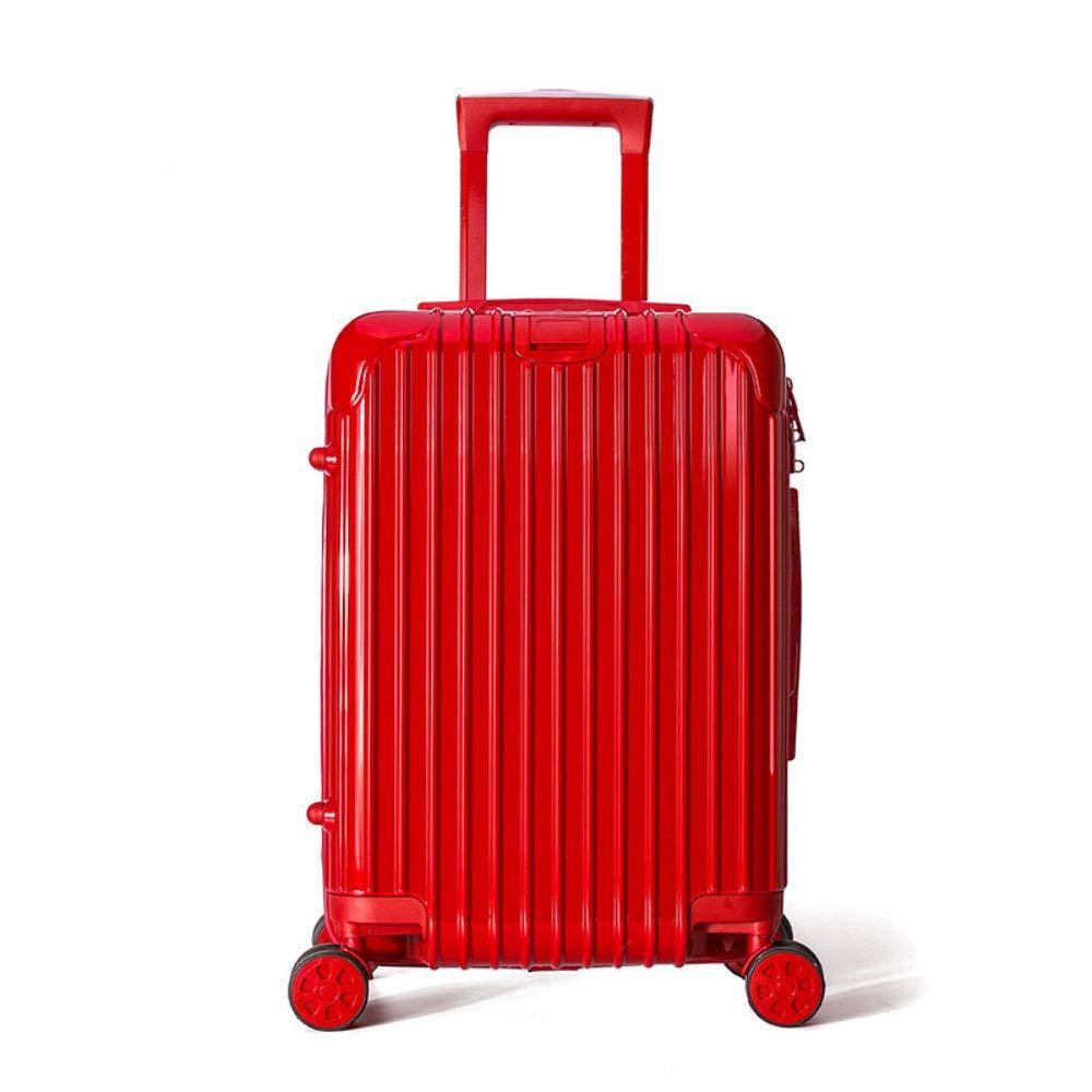 新しいユニバーサルホイールトロリーケーススーツケース防水ジッパーパスワードロック荷物 (Color : 赤, Size : 20 inches)   B07R6PL453