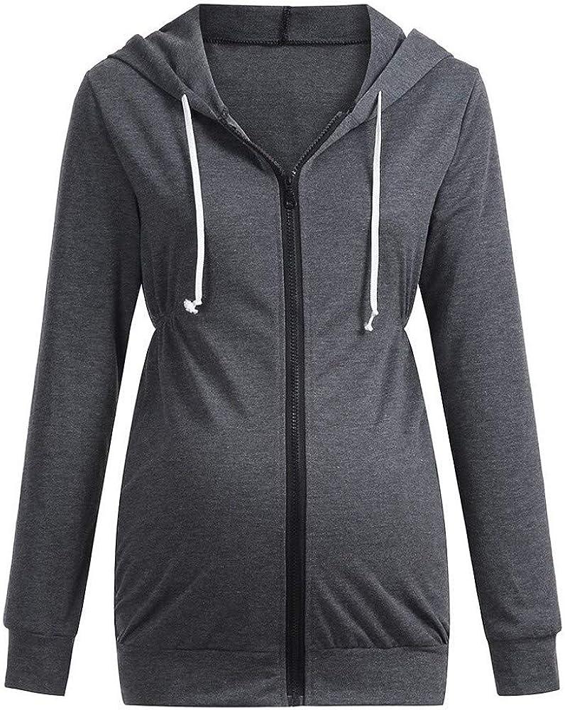 FIRSS Frauen Rei/ßverschluss Umstandsmoden Mit Kapuze Mantel Einfarbig Hoodie Sweatshirts Tops Stillende Kapuzenpullover T-Shirt