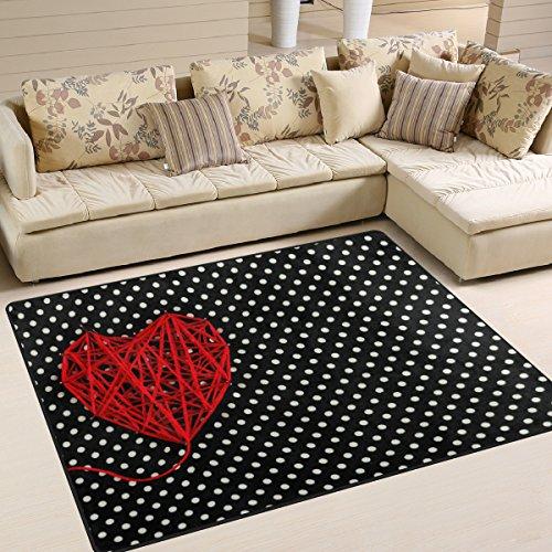 (ALAZA Valentine's Day Red Love Heart Polka Dot Black White Area Rug Rugs for Living Room Bedroom 5'3 x 4')