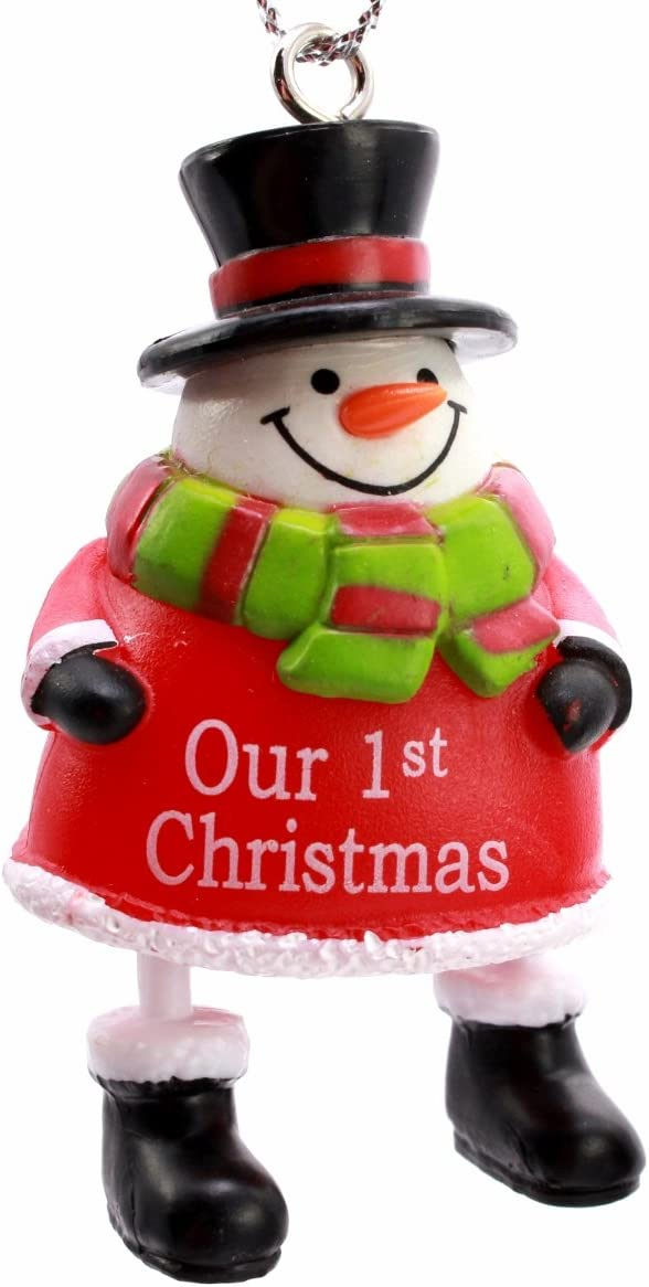 Ganz Personalized Mini Jingle Bell Snowman Christmas Ornament; OUR 1ST CHRISTMAS