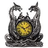 Dragonstar Clock - Vintage-Style Clock Set in Twin Dragons Resin Sculpture