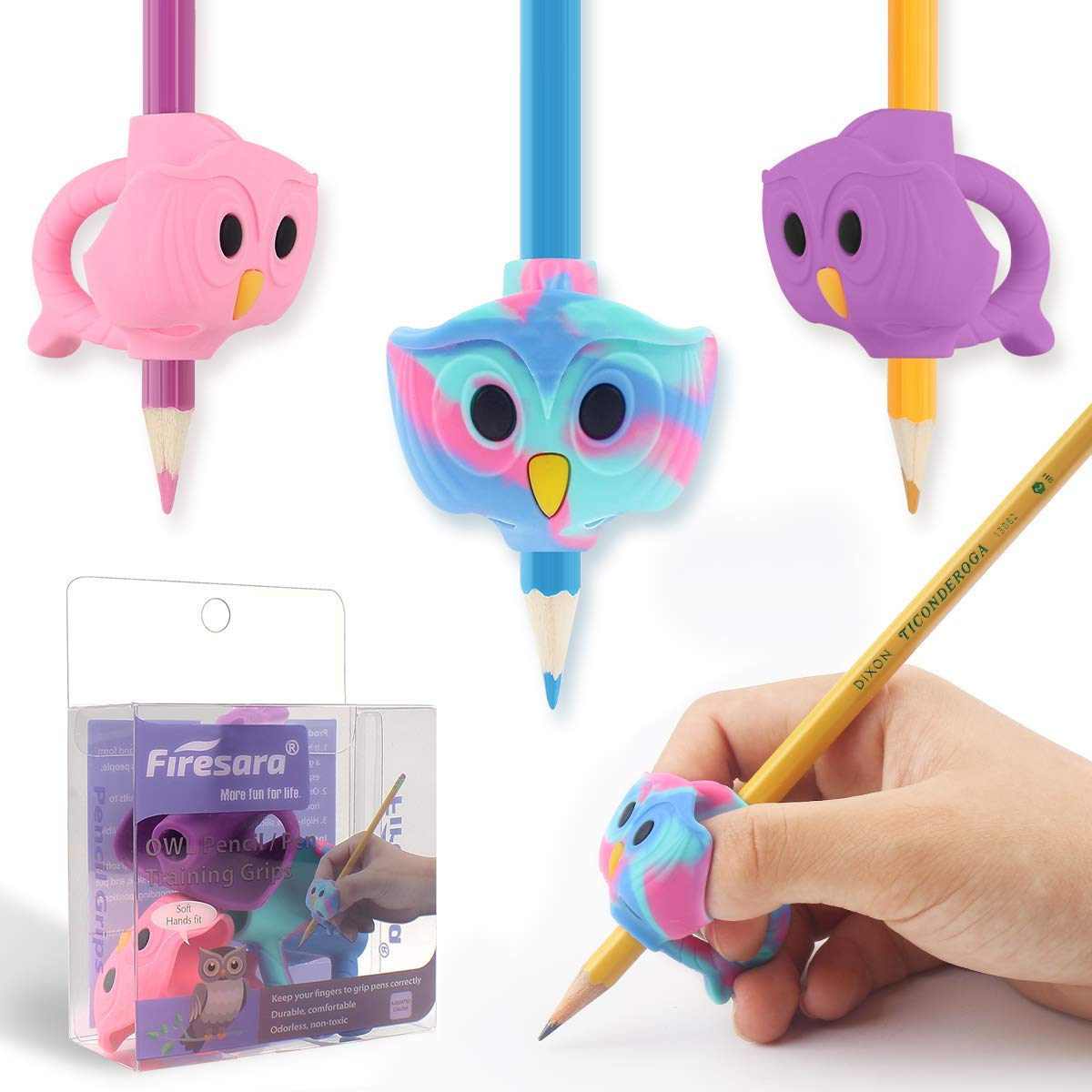 Pencil Grips, Firesara Original Owl Pencil Grips for Kids Handwriting Ergonomic 3 Fingers Sets Aid for Trainer Handwriting Posture Correction,Assorted Pencil Grip for Righties and Lefties (3pcs)