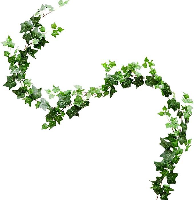 Guirnalda de Hiedra Artificial, 1 Unidades de Hojas Verdes para Colgar en el hogar, jardín, Boda, Fiesta, decoración