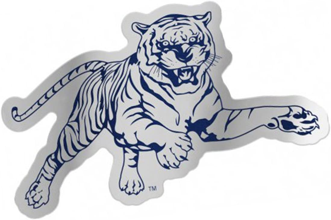 Jackson State University Tigers Auto Badge Decal Hard Thin Plastic 5x2.8 inches