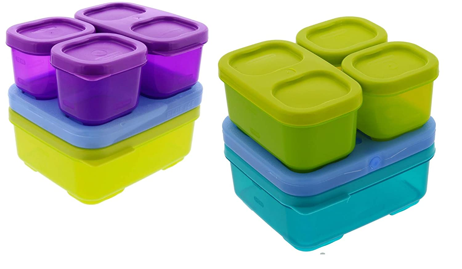 Rubbermaid LunchBlox Sandwich Kit, 2pk - BPA-Free, Freezer Safe, Microwave Safe Plastic Container with Blue Ice - Colors May Vary